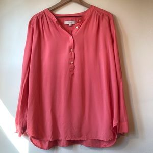 LOFT Coral/Peach Blouse, Long Adjustable Sleeves